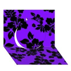Violet Dark Hawaiian Circle 3d Greeting Card (7x5)  by AlohaStore