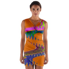 Colorful Wave Orange Abstract Wrap Front Bodycon Dress by BrightVibesDesign