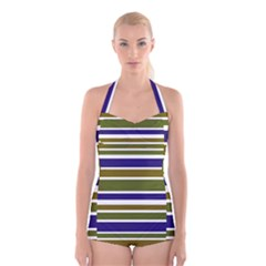 Olive Green Blue Stripes Pattern Boyleg Halter Swimsuit  by BrightVibesDesign