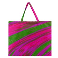 Swish Bright Pink Green Design Zipper Large Tote Bag by BrightVibesDesign