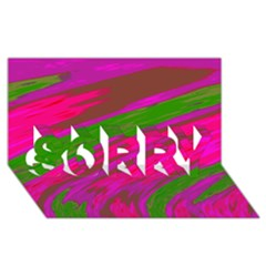 Swish Bright Pink Green Design SORRY 3D Greeting Card (8x4)  by BrightVibesDesign