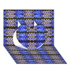Pattern Tile Blue White Green Heart 3d Greeting Card (7x5)  by BrightVibesDesign