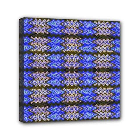 Pattern Tile Blue White Green Mini Canvas 6  X 6  by BrightVibesDesign