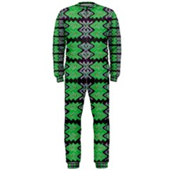 Pattern Tile Green Purple Onepiece Jumpsuit (men)  by BrightVibesDesign