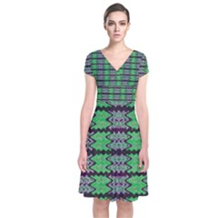 Pattern Tile Green Purple Short Sleeve Front Wrap Dress by BrightVibesDesign