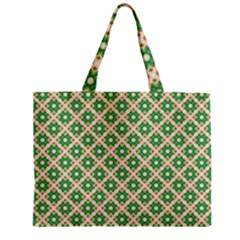 Crisscross Pastel Green Beige Zipper Mini Tote Bag by BrightVibesDesign
