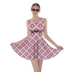 Crisscross Pastel Pink Yellow Skater Dress by BrightVibesDesign