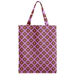 Crisscross Pastel Pink Yellow Zipper Classic Tote Bag by BrightVibesDesign