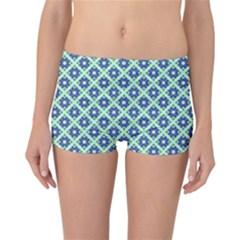 Crisscross Pastel Turquoise Blue Reversible Boyleg Bikini Bottoms by BrightVibesDesign