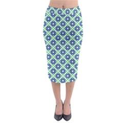 Crisscross Pastel Turquoise Blue Midi Pencil Skirt by BrightVibesDesign