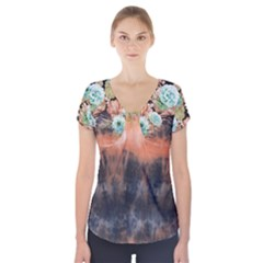 tie-dye1l Short Sleeve Front Detail Top by Wanni