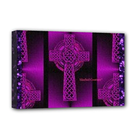 Purple Celtic Cross Deluxe Canvas 18  X 12   by morbidcouture
