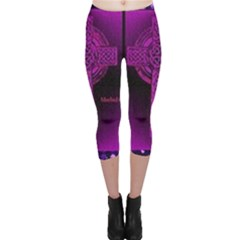 Purple Celtic Cross Capri Leggings  by morbidcouture