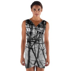 Tree Lines Wrap Front Bodycon Dress
