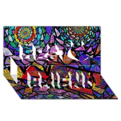 Fractal Stained Glass Best Friends 3d Greeting Card (8x4)  by WolfepawFractals