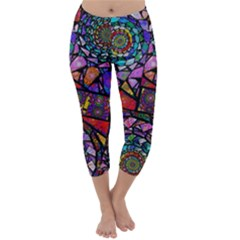 Fractal Stained Glass Capri Winter Leggings  by WolfepawFractals