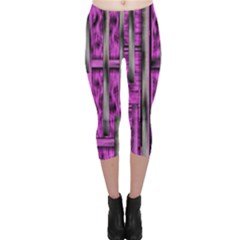 Purple Lace Landscape Abstract Shimmering Lovely In The Dark Capri Leggings  by pepitasart