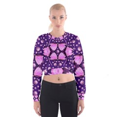 Magic Lotus In A Landscape Temple Of Love And Sun Women s Cropped Sweatshirt by pepitasart