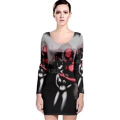 Be Scared Long Sleeve Velvet Bodycon Dress by lvbart