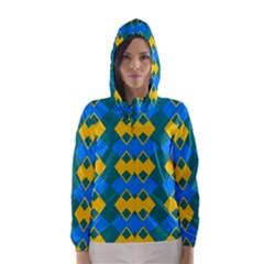 Blue yellow rhombus pattern                                                                           Hooded Wind Breaker (Women) by LalyLauraFLM