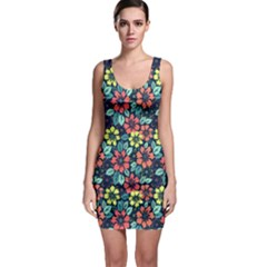 Tropical Flowers Sleeveless Bodycon Dress by olgart