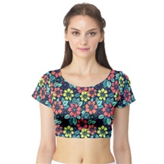 Tropical flowers Short Sleeve Crop Top (Tight Fit) by olgart