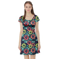 Tropical Flowers Short Sleeve Skater Dress by olgart