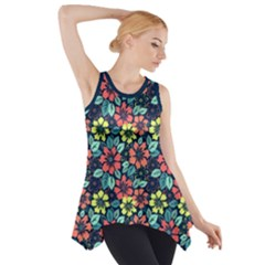 Tropical Flowers Side Drop Tank Tunic by olgart