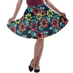 Tropical flowers A-line Skater Skirt