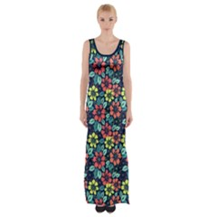 Tropical Flowers Maxi Thigh Split Dress by olgart