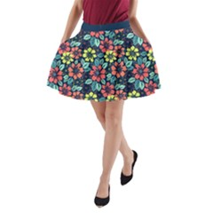 Tropical flowers A-Line Pocket Skirt by olgart