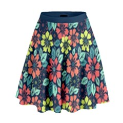 Tropical flowers High Waist Skirt by olgart