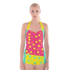 Polka Dot Boyleg Halter Swimsuit  by Wanni