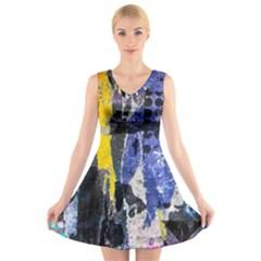 Urban Grunge V-Neck Sleeveless Skater Dress by ArtistRoseanneJones