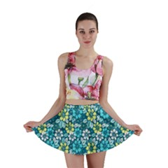 Tropical flowers Menthol color Mini Skirt by olgart