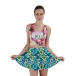 Tropical flowers Menthol color Mini Skirt