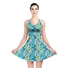 Tropical flowers Menthol color Reversible Skater Dress by olgart