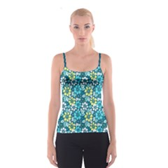 Tropical flowers Menthol color Spaghetti Strap Top by olgart