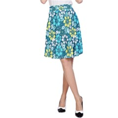 Tropical flowers Menthol color A-Line Skirt by olgart