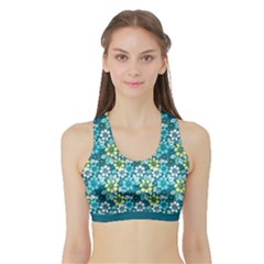 Tropical flowers Menthol color Sports Bra with Border by olgart