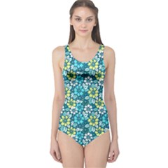Tropical flowers Menthol color One Piece Swimsuit by olgart