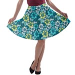 Tropical flowers Menthol color A-line Skater Skirt