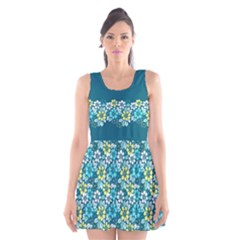 Tropical flowers Menthol color Scoop Neck Skater Dress by olgart