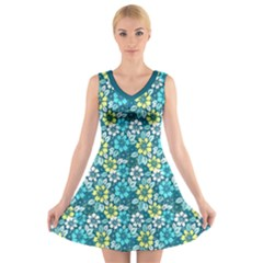 Tropical flowers Menthol color V-Neck Sleeveless Skater Dress by olgart