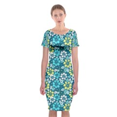Tropical Flowers Menthol Color Classic Short Sleeve Midi Dress by olgart