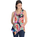 Pastel Painted Roses Sleeveless Tunic