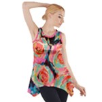Painted Pastel Roses Side Drop Tank Tunic