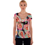 Painted Pastel Roses Women s V-Neck Cap Sleeve Top