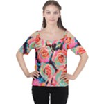 Painted Pastel Roses Women s Cutout Shoulder Tee