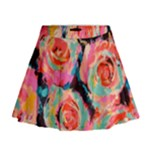 Pastel Painted Roses Mini Flare Skirt